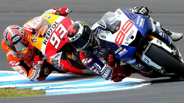 Championship contenders Marc Marquez (l) and Jorge Lorenzo (r)