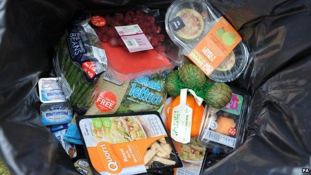 Food in a bin