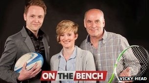 Presenters Paul Woodford, Rachel Chadwick, Rob Underwood from On The Bench on Estuary TV