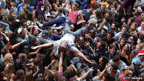 Bombay Bicycle Club fans at a gig in Australia