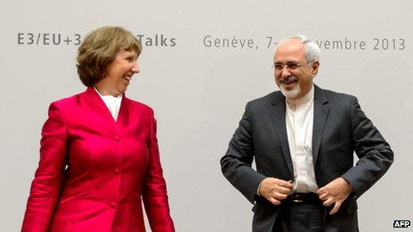 EU foreign policy envoy Catherine Ashton with Iranian Foreign Minister Mohammad Javad Zarif, Geneva (7 November)