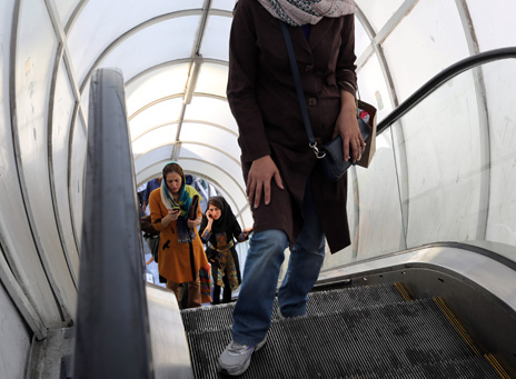 Woman wearing jeans in Tehran in October 2013