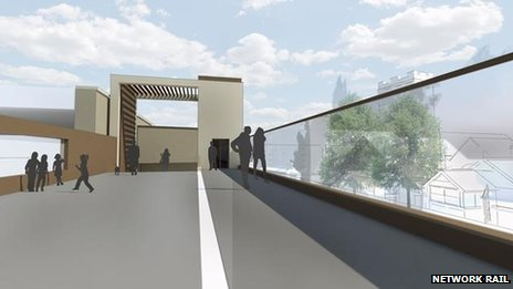Artists impression of the footbridge  over the railway line on Lincoln High Street