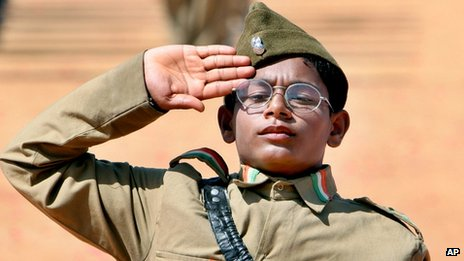 Boy dressed in uniform of Indian National Army