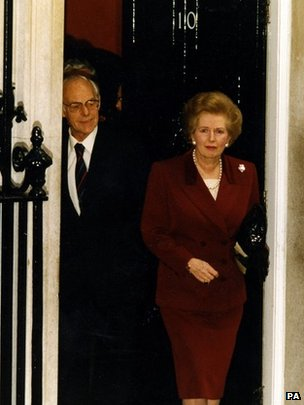 Margaret Thatcher leaving Downing Street
