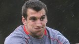 Sam Warburton passes the ball during Wales training