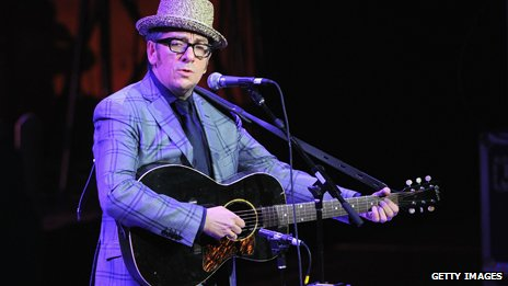 Elvis Costello in hat