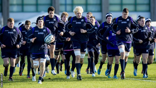 Scotland train ahead of Saturday's game with Japan