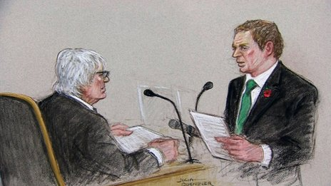 Court drawing of Bernie Ecclestone