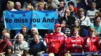 Andy Murray supporters hold up a banner at the ATP World Tour Finals in London, as Roger Federer takes on Richard Gasquet.