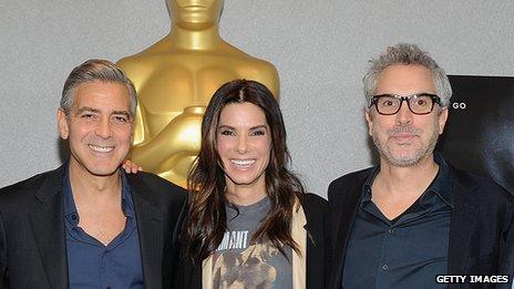 George Clooney, Sandra Bullock, Alfonso Cuaron