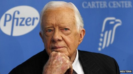 Former US President Jimmy Carter attends a news conference in New York on 5 November 2013
