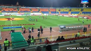 Rubin Kazan players warm up