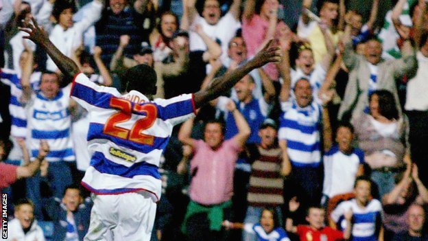 Shabazz Baidoo celebrates scoring for QPR
