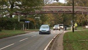 Footbridge near school