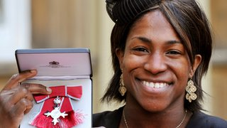 Maggie Alphonsi shows off her MBE