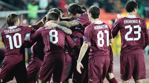 Rubin Kazan players celebrate Oleg Kuzmin's goal