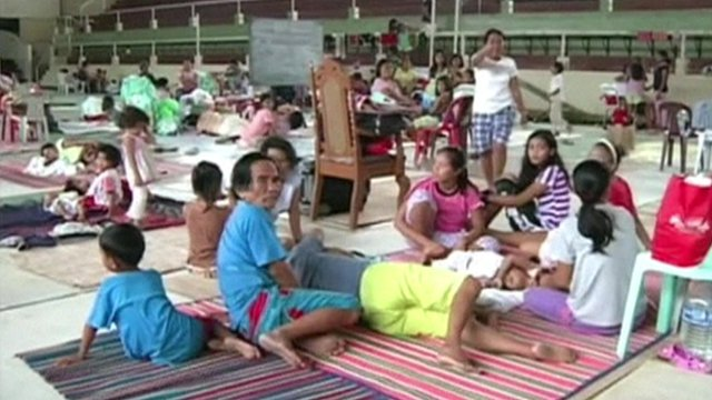 Evacuated residents in the Philippines