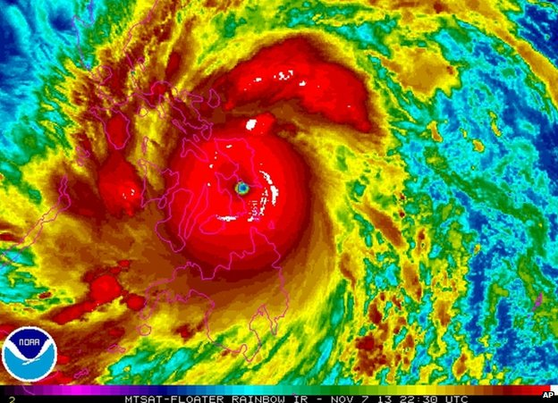 Typhoon Haiyan approaching the Philippines, 22:30 GMT 7 November