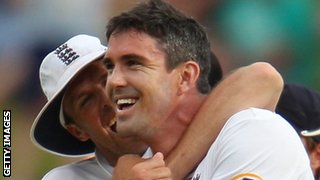 Kevin Pietersen celebrates with Graeme Swann after taking a wicket at Adelaide in 2010