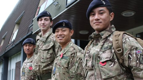 Members of the 248 Gurkha Signal Soldiers