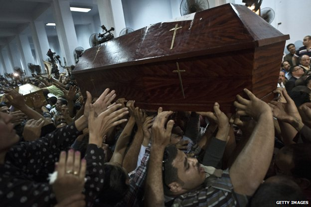 Coffins of Christians killed for their faith in the Middle East