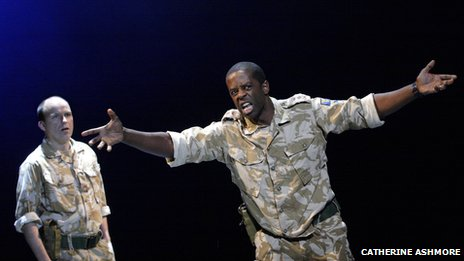 Rory Kinnear (left), as Iago, and Adrian Lester (right) as Othello in the National Theatre's Othello