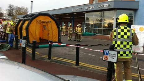 Fire crews at Harrogate Hospital