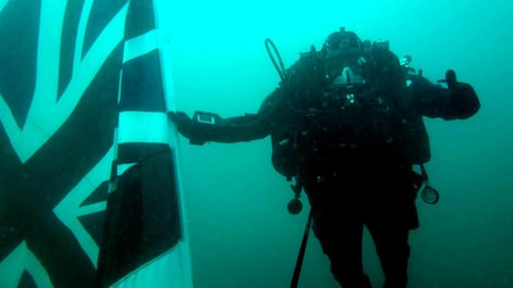 Diver with flag