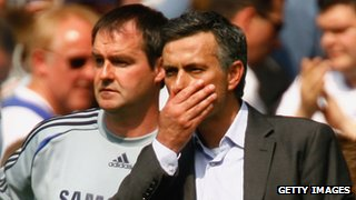 Chelsea manager Jose Mourinho with former assistant manager Steve Clarke