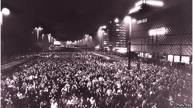 Up to 70,000 protesters marched through Leipzig on 9 October 1989
