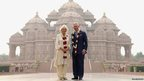 Camilla, Duchess of Cornwall and Prince Charles, Prince of Wales pose outside the Akshardham Temple in Delhi