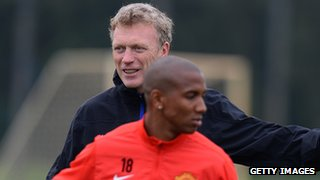 Manchester United manager David Moyes and Ashley Young