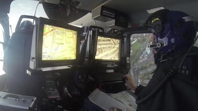 Inside police helicopter
