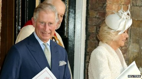 Prince Charles and Camilla, Duchess of Cornwall leave the christening of Prince George at St James's Palace in London October 23