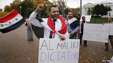 Protest against Nouri Maliki outside the White House (1 November 2013)