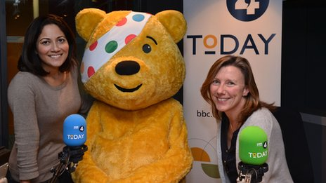 Today programme hosts Mishal Husain and Sarah Montague (and Pudsey Bear)
