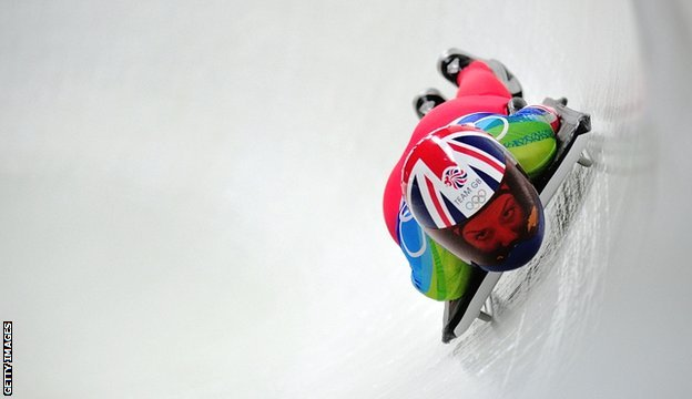 Amy Williams competing in the skeleton at Vancouver 2010
