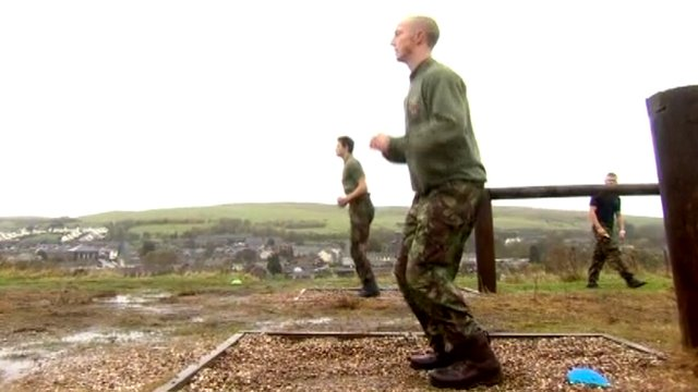Young recruits at army college training