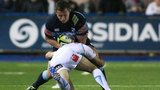 Cardiff Blues' Tom Davies is tackled by Worcester's Paul Hodgson