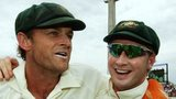Adam Gilchrist and Michael Clarke celebrate Australia's win at Perth in 2006