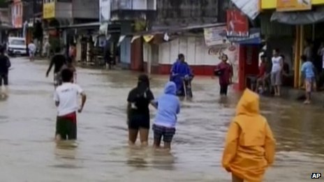 Flood waters caused by Typhoon Haiyan in Mindoro, Philippines