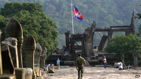 Cambodian solider at Preah Vihear temple in 2008