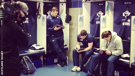 Scotland Rugby players arrive in changing room