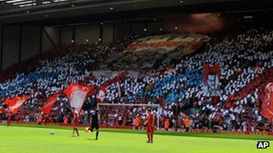 Liverpool fans hold a tribute to the Hillsborough disaster at Anfield