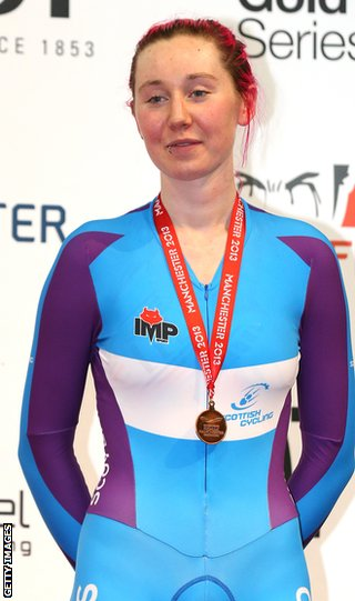 Katie Archibald on the podium at the World Cup event in Manchester after winning bronze in the individual pursuit
