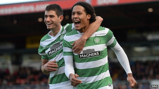 Virgil van Dijk celebrates one his two headed goals