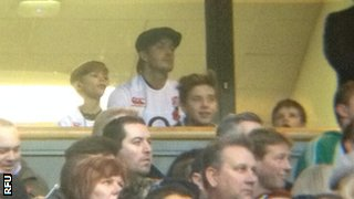 David Beckham and his sons watching England at Twickenham