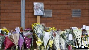 Tributes to Leon Briggs outside Luton police station