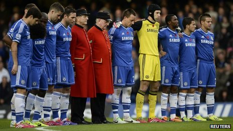 Chelsea Pensioners join Chelsea players to observe a minute's silence before kick-off at Stamford Bridge